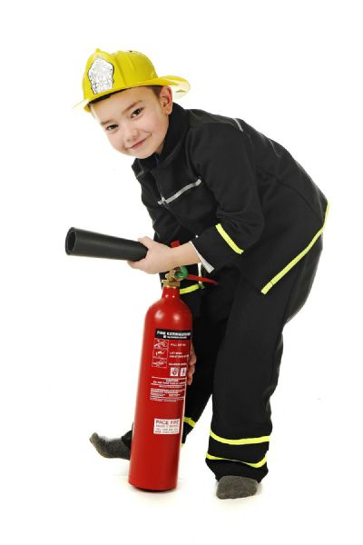 Children's Kids Boys Fireman Fire & Rescue Fancy Dress Costume Includes Helmet